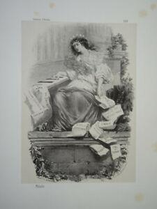 Célestin NANTEUIL (1813-1873) LITHO ORIGINALE ALLEGORIE MUSIQUE FEMME OPERA 1860