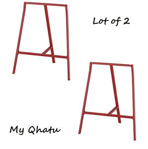 Ikea Lerberg Trestle Table Legs Red - Industrial Steel - Set of 2 New