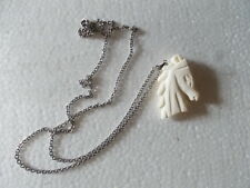 HAND CARVED  BONE HORSE HEAD NECKLACE FREE SHIPPING