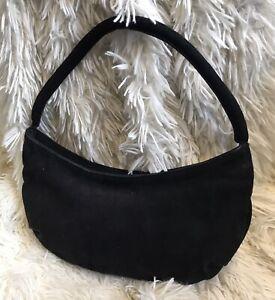 LK Bennett Small Black Suede Under Arm Handbag