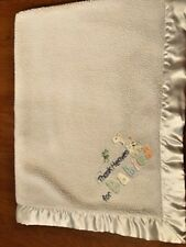 """Just One Year by Carter's blanket """"Thank Heaven for Babies"""" cream velour, sherpa"""