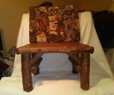 Hand Made Wood Stool W/Cushion