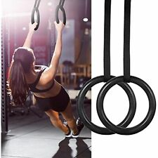 Gymnastic Rings Wooden with Straps Gym Fitness Training Portable Ring Straps