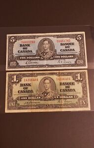 1937 Canada $1 and $5 Banknotes. RARE Osborne signed $1 Note.