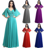 Chiffon Long Mother Of The Bride Dresses Crystal Wedding Formal Gown Plus Size