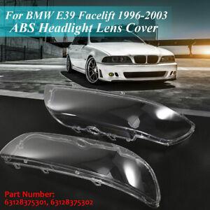 Pair Clear Headlight Lens Headlamp Cover Shell For BMW E39 Facelift 1996-2003