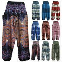 Ladies Harem Pants Baggy Bohemian Boho Hippie Aladdin Yoga Genie Trousers Unisex