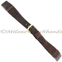 19mm Hirsch Brown Genuine Lizard Flat Unstitched Open Ended Watch Band Regular