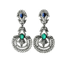 Earring Stud Black Silver Green Blue Crystal Peacock Feather Flower Pendant X10