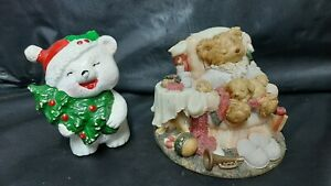 Lot of 2 -Vintage White Teddy Bear Japan? -and- 1994 TEDDY & ME FIGURINE WBI INC