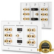 Fosmon 3 Gang Gold Plated Copper Post 6 Pair 6.1 Surround Sound HDMI Wall Plate