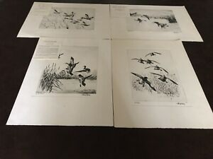 4 TALIO-CHROME REPRO. PRINTS FROM ORIGINAL ETCHING BY RICHARD E. BISHOP, SIGNED