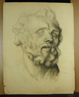 Drawing Original Sculpture Greco-Roman Art Study Head Bearded Man Dieu 24 3/8in
