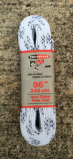 """Tex Style Pro Hockey Skate Laces 96"""" - 244cm White Wide Waxed"""