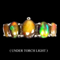 Oval Black Opal Rainbow Full Flash 8x6mm 925 Sterling Silver Ring