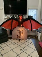 Gemmy Airblown Inflatable Scary Bat On Tombstone 8 Ft Halloween Yard Decor
