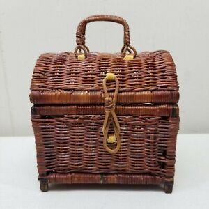 Wicker Rattan Brown Mini Trunk Chest Treasure Box Home Decor Accent Country
