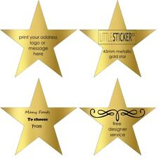 Greeting card and invitations seals personalised Gold Star stickers x 50