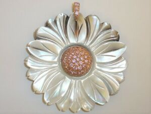 Ross-Simons Gold over Sterling Silver MOP Flower Pendant Pink Pave Stones