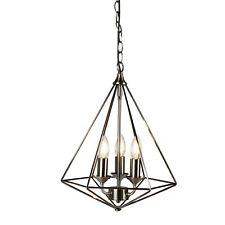 Searchlight 1443-3si DIAMOND Antique Silver Finish Pyramid Pendant 3 Light