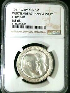 NGC MS63-Germany Wurttemberg 1911F Wedding Silver 3 Mark BU Scarce