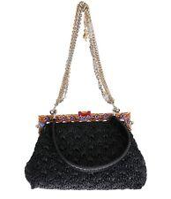 NEW $5600 DOLCE & GABBANA Bag VANDA Carretto Black Raffia Snakeskin Purse
