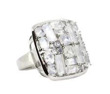 schöner breiter Ring - 925er Silber - 26 facettierte schimmernde Mondsteine
