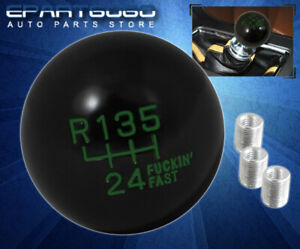 For Chevy Solid 4Oz Manual Ball Type 6-Speed Shift Knob Thread Adapter Blk Green