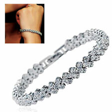 Women Fashion Roman Chain Clear Zircon Crystal Bangle Rhinestone Bracelet Gift B