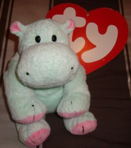 """TY PLUFFIES ~ TUBBY GREEN HIPPO NO TAG BEANIE 8"""" PLUSH TOY BABY USED 2003 LOVEY"""