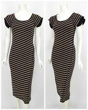 Womens Sonia Rykiel Bodycon Dress Long Brown Cotton Striped Size XS