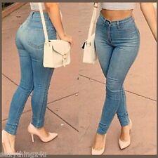 Womens Ladies Faded Blue Mid Waist Slim Skinny Pants Jeans AU 14