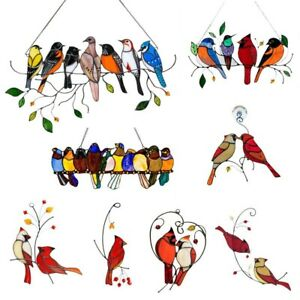 Multicolor Birds On Wire Acrylic Suncatcher Window Panel Home Wall Hanging Decor