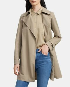 Theory Sz P NWT $495 Oaklane Khaki Chino Belted Trench Open Front Coat Classic
