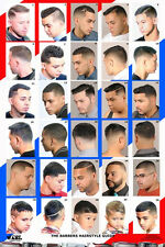 24 X 36 BARBER SHOP POSTER MODERN HAIR STYLES FOR MEN YOUTH AND KIDS HISPANIC