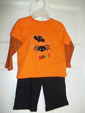 NURSERY RHYME BABY HALLOWEEN 2 PIECE OUTFIT EMBROIDERY NWT BLACK PANTS