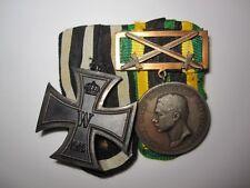 German WWI Military Medal Bar Iron Cross & Saxe-Weimar Bronze Award 1918