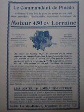 1926 PUB LORRAINE DIETRICH ARGENTEUIL MOTEUR AVIATION 450 CV RAID DE PINEDO AD