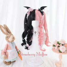 Pink Black Gradient Sweet Hair Cosplay Kawaii Lolita Daily Long Wig NO Headwear