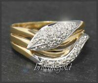 Diamant Damen Gold Ring mit 0,25ct, 585 Gelbgold & Weißgold Cocktailring