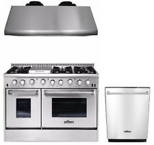 """Gas Range 48"""" Thor Kitchen HRG4808U Double Oven Professional Appliance Package"""
