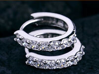 Womens Ladies White Crystal Ear Small Hoop Earrings Silver Fashion Jewelry Gift