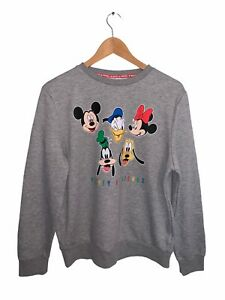 Mickey And Friends Jumper Sweater Pullover Mens Size M Grey Long Sleeve Crew