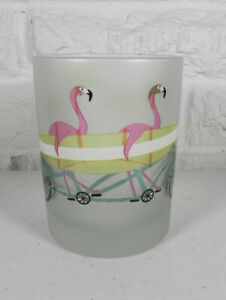 Culver Surfboard Palm Tree Pink Flamingo DOF Cocktail Bar Glass Set of 2 New