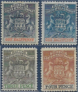 Rhodesia [BSAC] 1892 Part set 4 of 7 Coat of Arms sg 18-9, 21-2 MNG