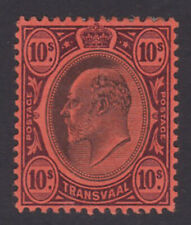 Transvaal. SG 255, 10/- black & purple/red. Mounted mint.