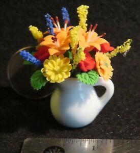 Flower Arrangement Flowers in White Jug Colorful Centerpiece 1:12 Miniature A143