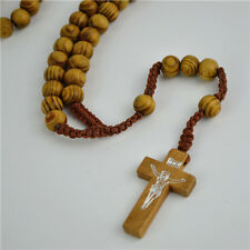 Brown Rope Wooden Beads Religious Necklace Rosary With Brown Cross