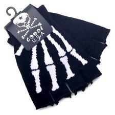 New Skeleton Fingerless Gloves Skull Black White one size GOTH WARMER