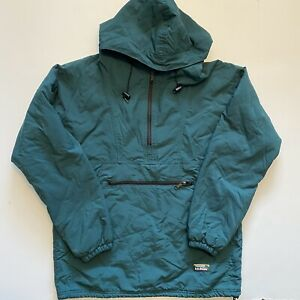 Vintage LL Bean Anorak Windbreaker Jacket 1/4 Zip Hooded Green Sz L